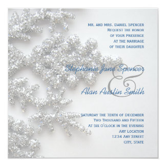 Silver Snowflakes Wedding & Reception Invitation