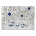 silver snowflakes winter bridal shower Thank You Card