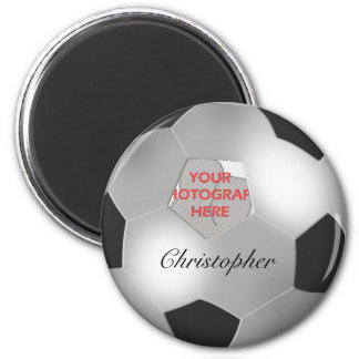 Silver Soccer ball customizable photo frame 2 Inch Round Magnet