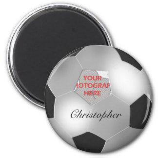 Silver Soccer ball customizable photo frame Fridge Magnet