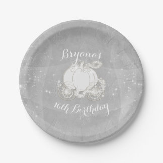 Silver Sparkle Carriage Elegant Cinderella Party Paper Plate