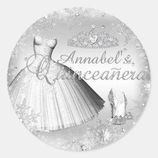 Silver Sparkle Dress & Tiara Quinceanera Sticker