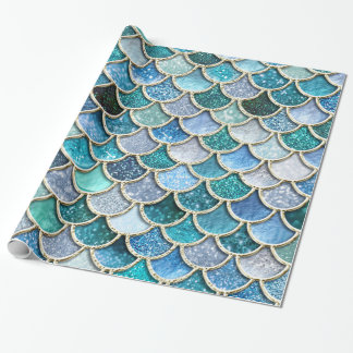 Silver Sparkle Glitter Mermaid Scales Wrapping Paper