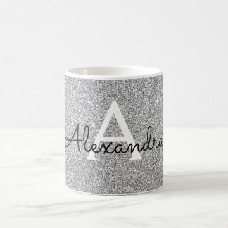 Silver Sparkle Glitter Monogram Name & Initial Coffee Mug