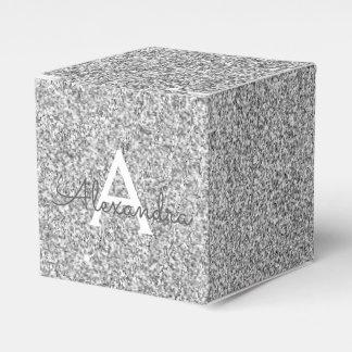 Silver Sparkle Glitter Monogram Name & Initial Favor Box