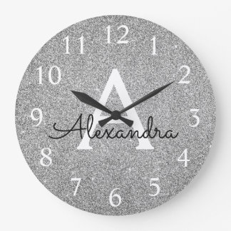 Silver Sparkle Glitter Monogram Name & Initial Large Clock
