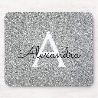Silver Sparkle Glitter Monogram Name Mousepad