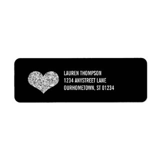 Silver Sparkle Heart Return Address Label