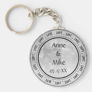 Silver Sparkle Love Personalized Keychain