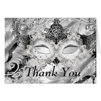 Silver Sparkle Mask Masquerade Thank You Card