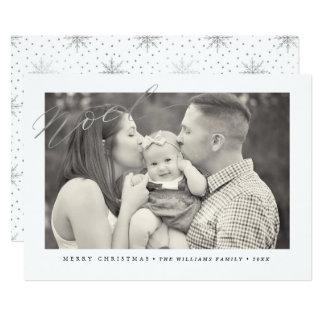 Silver Sparkle Noel Christmas Photo Cards