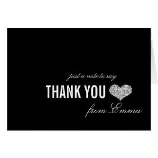 Silver Sparkle Sweet 16 Thank You Card