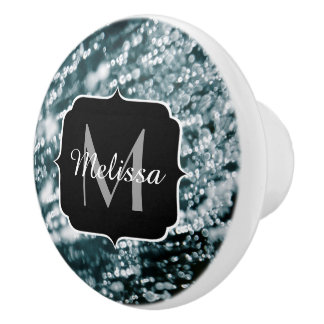 Silver sparkles Frozen ice bubbles Monogram Ceramic Knob