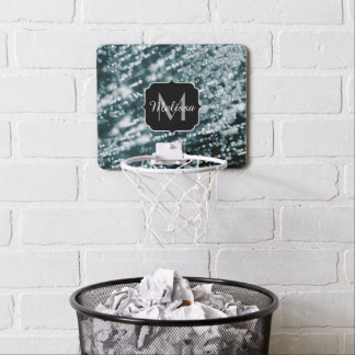 Silver sparkles Frozen Ice bubbles Monogram Mini Basketball Hoop