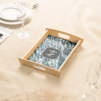 Silver sparkles Frozen ice bubbles Monogram Serving Tray