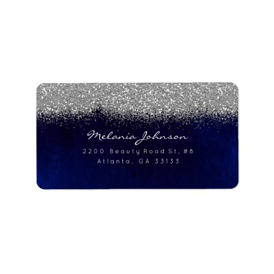 Silver Sparkly Glitter Blue Navy Velvet Label