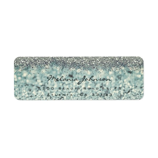 Silver Sparkly Glitter Silver Instagram Metallic Return Address Label