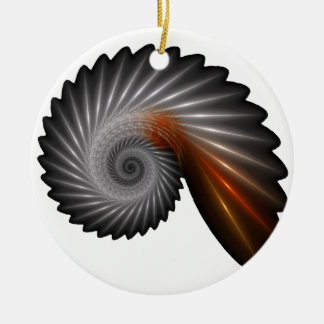 Silver spiral ceramic ornament
