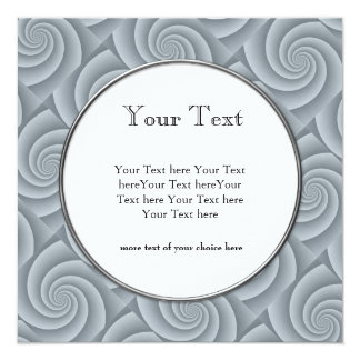"""Silver Spiral in brushed metal texture 5.25"""" Square Invitation Card"""