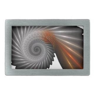 Silver spiral rectangular belt buckle