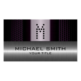 Silver Stainless Modern Dark Hole Steel Look Pack Of Standard Business Cards