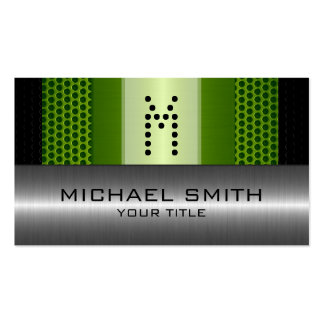 Silver Stainless Modern Green Hole Steel Look Pack Of Standard Business Cards