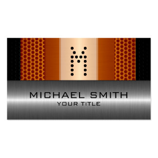 Silver Stainless Modern Orange Hole Steel Look Pack Of Standard Business Cards
