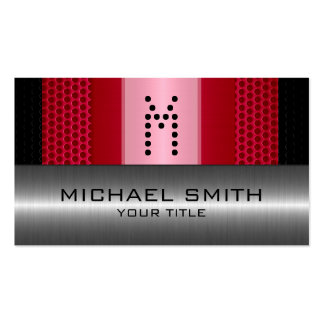 Silver Stainless Modern Red Hole Steel Look Pack Of Standard Business Cards
