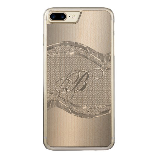 Silver Stainless Steel & Diamonds Pattern Print 3 Carved iPhone 8 Plus/7 Plus Case
