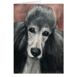 """Silver Standard Poodle"" Dog Art Blank Notecards Card"