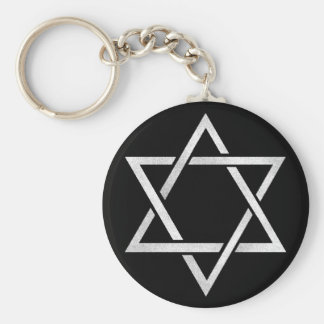 Silver Star Of David Basic Round Button Keychain