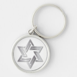 Silver Star of David Keychain