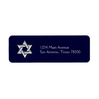 Silver Star of David on Any Color Background Return Address Label