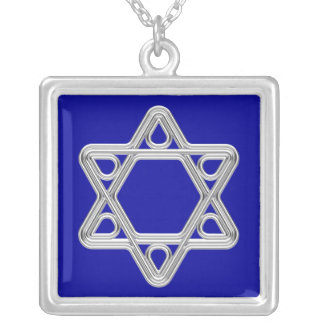 Silver Star of David Square Pendant Necklace