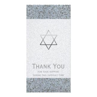 Silver Star of David Stone 2 Sympathy Thank You Card