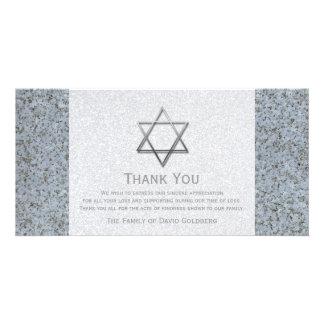 Silver Star of David Stone 3 Sympathy Thank You Card