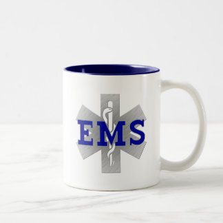 Silver Star of Life with Blue EMS Two-Tone Coffee Mug