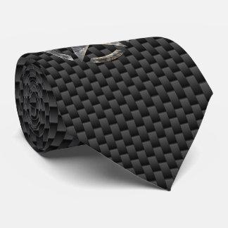 Silver Star Stencil Carbon Fiber Style Tie