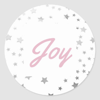 Silver Starry Joy Christmas Holiday Classic Round Sticker