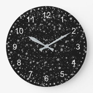 Silver Stars Large Clock