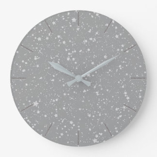 Silver Stars Large Clock