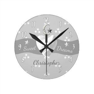 Silver Stars & Moon Clock nursery decor