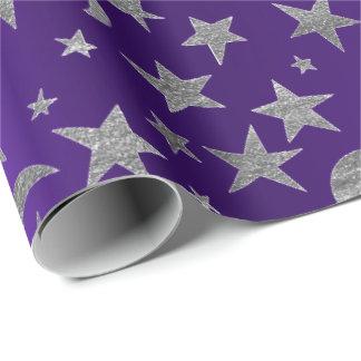 Silver Stars Moon Sky Metallic Purple Amethyst