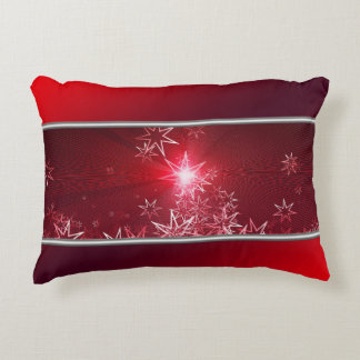 Silver stars on a red background accent pillow