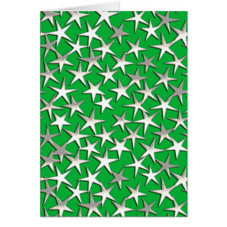 Silver stars on emerald green cards