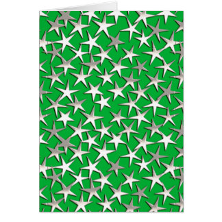 Silver stars on emerald green greeting cards