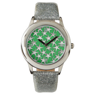 Silver stars on emerald green wrist watches