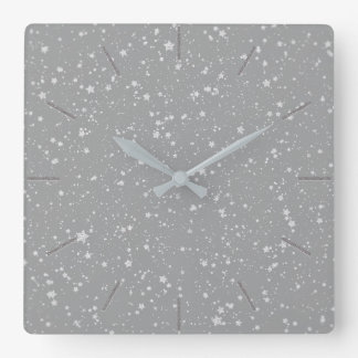 Silver Stars Square Wall Clock