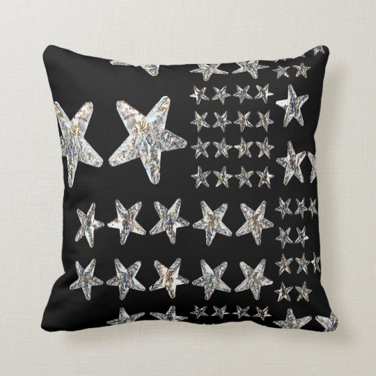 Silver Stars Throw Pillow