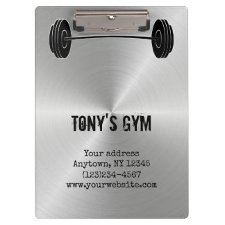 Silver Steel Metal Look Gym Weights Clipboard